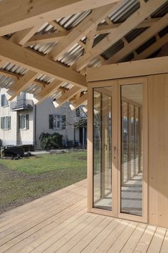 at - Bauwerke Pergola, Timber Architecture, Wood Arch, Pavilion, Outdoor Structures, Windows, Building, Places, Interior