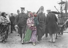 Roma mother being moved by British Authorities.