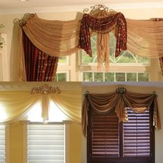 Curtains and Drapes Los Angeles: Three different drapery hardware crown ideas. #luxuryrealestate #homeinspiration #interiors #interiordesign #home #elagant