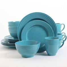 Gibson Home Stanza 16-Piece Dinnerware Set, Turquoise Color -- Learn more by visiting the image link.