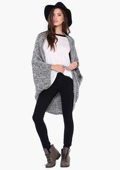 Mark Oversized Cardigan in Black/white | Necessary Clothing