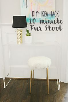 DIY Ikea Hack White Fur Stool : You might have seen similar DIY Ikea hack white fur stool projects on Pinterest, but I changed some of the steps to make it a 10