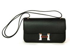 HERMES Black Epsom Leather 'Constance' Elan Shoulder Bag W. Silver Hardware 2010