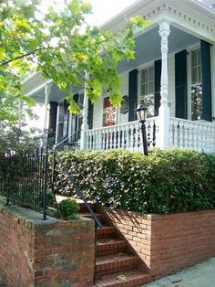 Paint that porch roof Haint Blue - sherwin williams adrift. Link tells the history of the classic blue painted porch ceiling.