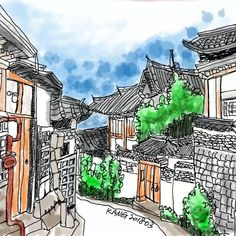 Korean Traditional, Traditional House, Travel Journal Pages, Architect Drawing, Urban Sketching, Sketches, Watercolor, Cartoon, Landscape