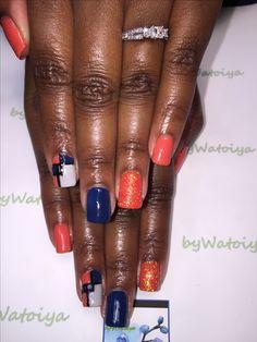 Wonderful Nail Creation byWatoiya #nails #naturalnails #soakoffgelpolish #freehandnailart #glitternails #bluenails #orangenails #FeelTheWonder #byWatoiya @bbtsalon #AnotherWatoiyaWonder