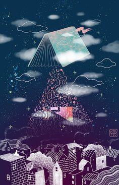 """bibliolectors: """" Los sueños se alimentan de las lecturas (ilustración de Gizem Vural) """""""