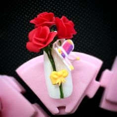3D NAIL. A bouquet and butterfly of the rose