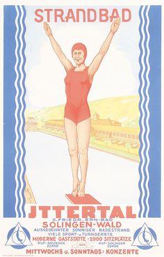 1920s German Beach Resort Travel Poster Ittertal  Estimated Price: $200 - $360  Description: Schulz, Wilhelm 1865 - 1952. Strandbad Ittertal. Offset ca. 1925 . Size: 25.9 x 16.5 in. (66 x 42 cm) . Printer: Lucas, Wuppertal .