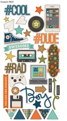 Create a fun retro-themed boy layout or card using the So Rad Collection Chipboard Stickers by Simple Stories, Included are 35 chipboard stickers that come on a Scrapbook Kit, Scrapbook Stickers, Scrapbook Paper, Planner Stickers, Printable Stickers, Simple Stories, Diy And Crafts, Paper Crafts, Chipboard