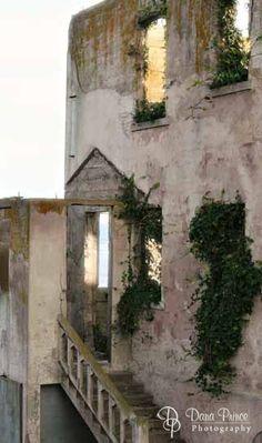 The abandoned warden's house on Alcatraz in San Francisco, CA.