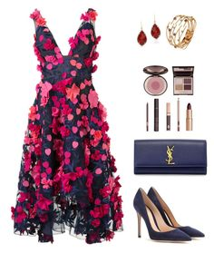 """""""Go bold or go home"""" by catherine-lim-jones ❤ liked on Polyvore featuring Notte by Marchesa, Yves Saint Laurent, Gianvito Rossi, Charlotte Tilbury, Botta Gioielli and Anne Sisteron"""