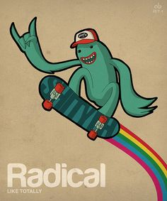 Radical skateboard alien