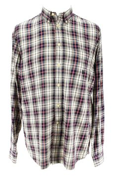 Show off your personality and good taste with this plaid blue cotton shirt made by Marina Yachting and heavily discounted from the retail price. We take all our own photos to present you with realistic and vivid detail. All items are hand-measured with body measurements to ensure a perfect fit. Chest: 16 | Sleeve: Long Sleeve | Length: 33