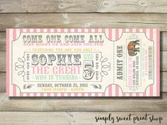 {  DESCRIPTION  } Come one come all! Step right up and join the fun! Celebrate your child's next birthday with this super cute Circus/Carnival ticket style girl birthday invitation.  You will receive one 9x4 PRINTABLE digital file (JPEG) for printing at home, your favourite printer or sending to your favourite local photo lab. You will also receive a PDF with two invites per page. No physical item is sent. We personalize it. You print it. It's as easy as that!  {  HOW TO PLACE YOUR ORDER  }…