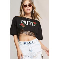 Forever21 Faith Open-Mesh Tee (£13) ❤ liked on Polyvore featuring tops, t-shirts, mesh crop top, short sleeve tops, boxy cropped tee, short sleeve crop top and graphic design t shirts