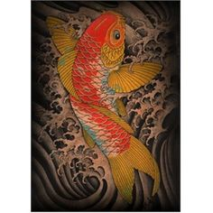 Koi by Clark North Tattoo Art Canvas Print. Clark North is a household name in the tattoo community. Over the last 15 years or so Clark has been profiled, quoted, and featured in such publications as Tattoo, Flash, Tattoos for Men, Savage, International Tattoo, and Tattoo Arts, as well as featured and quoted in USA Today, The Travel Channel, and A&E's reality show; Inked. Clark North's work reflects his interest in Japanese art and mythology.