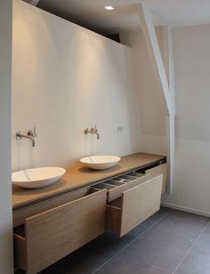 Bad Bathroom By Joost Tromp Baden Baden Interior - may also work with IKEA kitchen cupboards . Bathroom Toilets, Bathroom Renos, Laundry In Bathroom, Bathroom Storage, Bathroom Stuff, Vanity Bathroom, Bathroom Ideas, Bathroom Pink, Bathroom Drawers