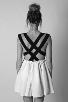 Open back, flare out dress.