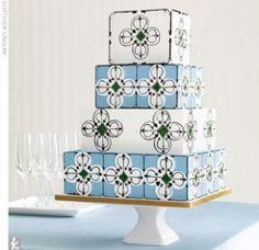 tile cake blue and white hand painted cake aminamichele.com amina michele