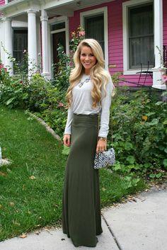 Elegant Comfort www.lovelylittlestyle.com Maxi Skirt for Fall