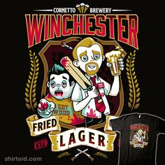 Fried Gold Lager   Shirtoid #film #label #movies #nemons #shaunofthedead #zombie #zombies