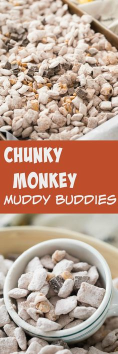 This chunky monkey snack mix is so simple to make; it's a great recipe to make with kids! Peanut butter and chocolate work perfectly in this fun muddy buddy recipe! via (Chex Mix Muddy Buddies) Puppy Chow Recipes, Chex Mix Recipes, Snack Recipes, Dessert Recipes, Cooking Recipes, Dessert Ideas, Candy Recipes, Holiday Recipes, Yummy Snacks