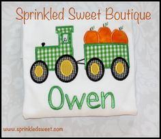 Custom Applique Thanksgiving Fall Tractor by Sprinkledsweet, $20.00