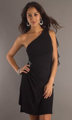 Knee Length Sexy Black Cocktail Dress Chiffon One Shoulder Ruched $84.99
