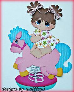 ELITE4U GIRL HORSE PLAY  paper piecing premade scrapbook page die cut  WOLFFEY5