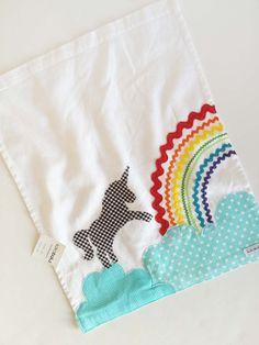 Unicorn Kitchen Towel, Unicorn Hand Towel, Unicorn Dancing on a Cloud with Rainbow, Rick Rack, by kakabaka