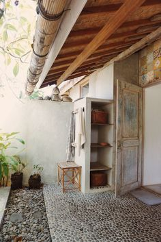 pebbles and tiles in this magical outdoor bathroom Loved this so much didn't know what category to place it into!
