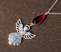 Red Quartz Angel Charm Necklace / Red Quartz by gemsnjewelryworld