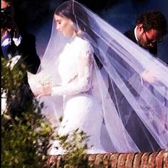 Kim Kardashian: the wedding dress by Givenchy #kimyewedding #kimkardashian #kanye #kanyewest #wedding #love #lace #veil #italy #florence #givenchy