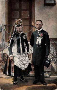 Ansichtskarte / Postkarte Hessische Trachten, Brautpaar, Hüttenberger