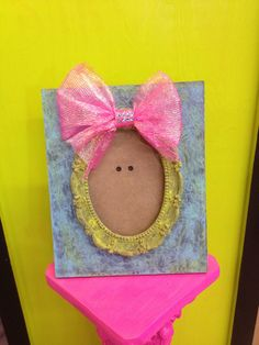 Girly Pink, Green, & Blue Picture Frame Embellished with Tulle and Rhinestone Bow