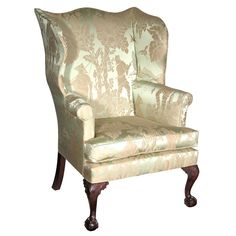 Chippendale Wing Chair On Carved Legs With Claw And Ball Feet