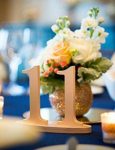 Wedding Table Numbers in Metallic Rose Gold | Handmade Wedding Decor & Gifts at www.ZCreateDesign.com... or shop ZCreateDesign on Etsy #wedding #tablenumbers #weddingdecor #rosegold