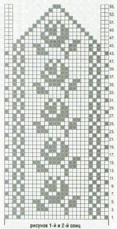 Вязание спицами. Схема жаккардового цветочного узора для варежек