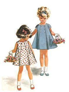 6744 vintage 60s de McCall lindo estupendo vestido de la muchacha del niño del panel plisado - detalle de botones - sin mangas o Cap de coser Patrón Tamaño 1
