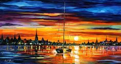 "CALM SUNSET — PALETTE KNIFE Oil Painting On Canvas By Leonid Afremov - Size 20""x36"""