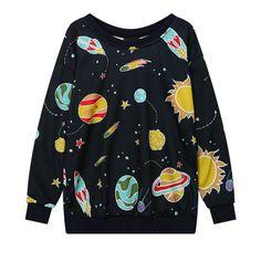 Harajuku Fashion Galaxy Fleece Pullover