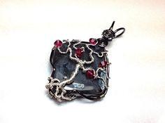 Gothic Tree of Life Pendant - Black Labradorite with Silver Wire - Dark Red Swarovski Crystals