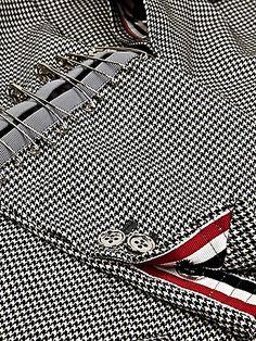 Thom Browne Men's Reconstructed Safety Pin Jacket in black / white at oki-ni