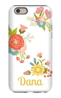Come shop this Floral Personalized iPhone 6 Tough Case at http://www.putacaseon.me/products/floral-personalized-iphone-6-tough-case . Using our custom case tool you can design your case exactly how you want it.