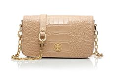 Tory Burch Croc Embossed Robinson mini bag: For those whose favorite color is neutral... The barely there shade works with everything. #EditorsWishlist