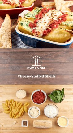Cheese-Stuffed Shells with marinara sauce and garlic bread