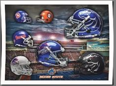 Boise State Broncos Football Poster Head Gear