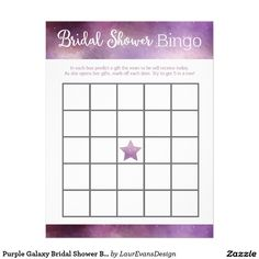 Purple Galaxy Bridal Shower Bingo Game