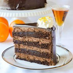 Chocolate Orange Truffle Cake with Chocolate Cointreau Glaze - easy to make chocolate cake, chocolate orange truffle filling & a chocolate Cointreau glaze.